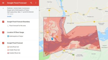 An alert sent out this week by Google's Flood Forecast service with India's Central Water Commission. It shows flood risk areas at Tezpur from the Brahmaputra River.