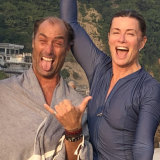 Special bond: Andrew Marsh and Deborah Hutton in India after swimming in the Ganges.