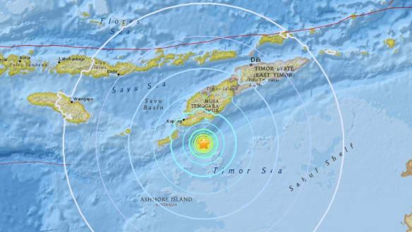 Earthquake strikes off east Indonesia in Timor Sea