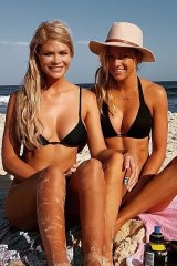 Megan Marx (R) with her ex-girlfriend, Tiffany Scanlon, whom she met on The Bachelor.