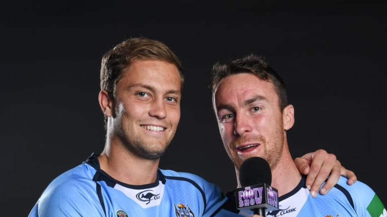 Hostage swap: Matt Moylan and former Blues teammate James Maloney.