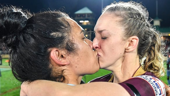 'It was tough': League-playing partners on reaction to post-match kiss