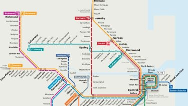 The redesigned map for Sydney's rail map includes the North West Metro (in aqua) and changes to the Northern Line (in red and renamed the T9).