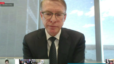 Crown Resorts CEO Ken Barton giving evidence to the NSW Independent Liquor and Gaming Authority's probity inquiry on Wednesday.