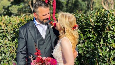 Shane and Andrea Ackley married during the height of coronavirus lockdown restrictions in southern Sydney with just five guests.
