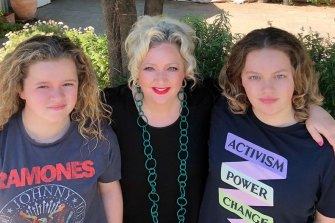Victorian Labor MP Jill Hennessy with her daughters Ginger (left) and Lily Rose.