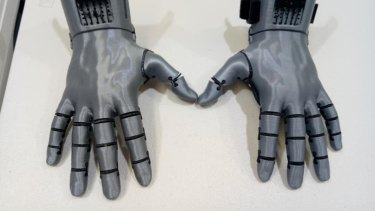 3D printed prosthetic hands designed by Mat Bowtell.
