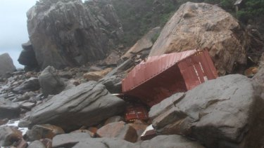 One of the shipping containers washed up near Shag Rock.