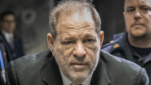 Harvey Weinstein leaves a Manhattan courthouse after a second day of jury selection for his trial on rape and sexual assault charges, Thursday, Jan. 16, 2020, in New York. (