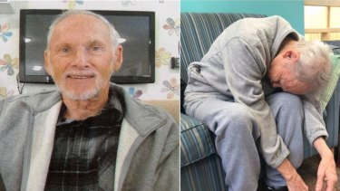 Terry Reeves, left, before he went into aged care, and right, an image published on ABC's 7.30 showed how his health deteriorated in care.