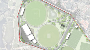 An artist's impression of the integration of Astrolabe Park recreation facilities with David Phillip Sports complex to the east.