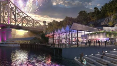 The proposed events hall at the Howard Smith Wharves.