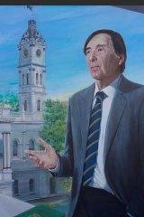 Detail from the portrait of Cr John Chandler by artist Anna Minardo.