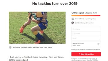 A screenshot of one change.org petition on non-tackling juniors.
