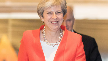 UK Prime Minister Theresa May arrives for the Conservative Party conference.