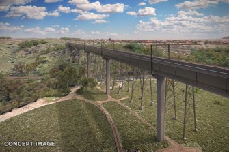 The rail bridge will be the second highest behind the West Gate.
