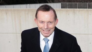 Former Prime Minister Tony Abbott arrives at Parliament House on Tuesday.