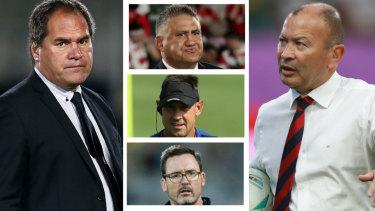 Wallabies head coach candidates: (Clockwise from left)Dave Rennie, Jamie Joseph, Eddie Jones, Dan McKellar and Scott Wisemantel.