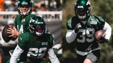 Blind side: Valentine Holmes, at training right, endured a baptism of fire with his Jets teammates.