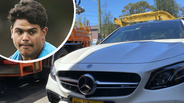 Taken for a ride: The Mercedes Latrell Mitchell has been driving was lent to him by a friend.