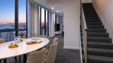 The dining room inside Williams' quarantine apartment.