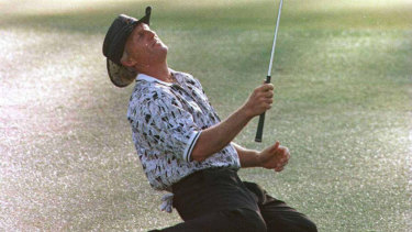 Greg Norman looks to the heavens at the 1996 US Masters,  which he famously lost.