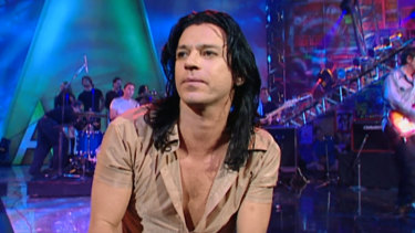 Michael Hutchence performing with INXS at the 1996 ARIAs.