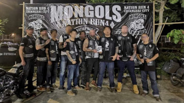 Members of the Mongols motorcycle gang in Thailand in October 2019.