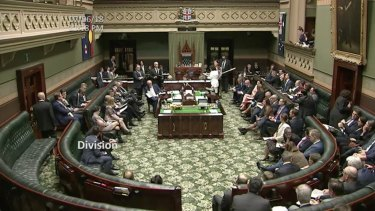 Member of the Legislative Assembly vote on a failed amendment to the Safe Access Zones legislation on Thursday night.