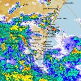 The low pressure system circling Sydney is heading north and east.