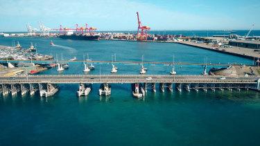 The Fremantle Traffic Bridge and rail crossing.