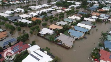 Flooding in the Townsville suburb of Oonoonba on Monday morning.