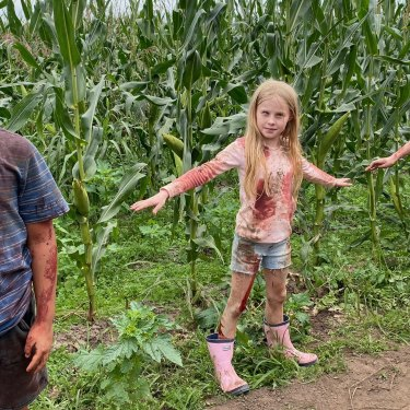 Cast members of horror film Children of the Corn, based on a Stephen King short story, which has continued shooting in Richmond, near Sydney, throughout the COVID-19 shutdown.