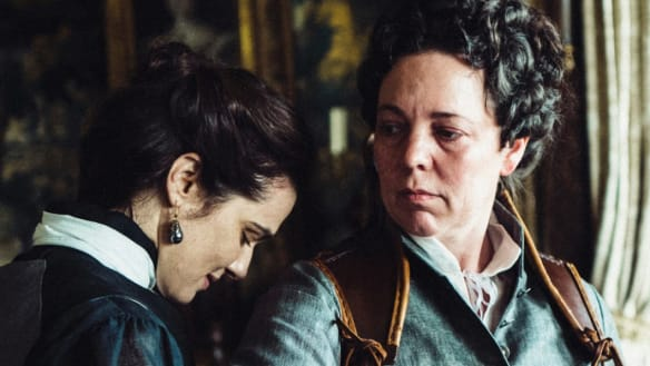 Rachel Weisz and Olivia Coleman in The Favourite.