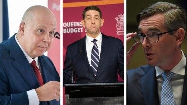 The treasurers of Australia's three biggest economies – Victoria's Tim Pallas, Queensland's Cameron Dick and NSW's Dominic Perrottet.