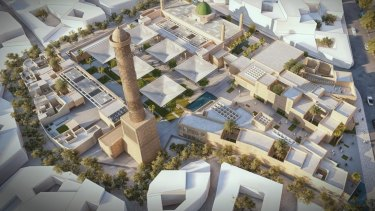 An artist rendering of the rebuilt Al-Nouri mosque in Mosul, Iraq. Locals are not pleased.
