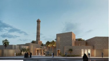 An artist rendering of the rebuilt Al-Nouri mosque in Mosul, Iraq. It had been destroyed by Islamic State militants, who declared a caliphate in the religious building.