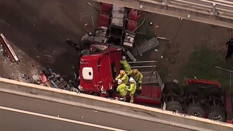 Emergency services were on scene after a truck rollover in Brisbane's south.