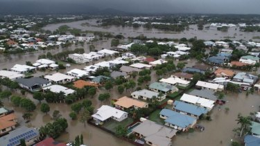 An aerial view of the flooding in the Townsville suburb of Oonoonba on Monday morning.