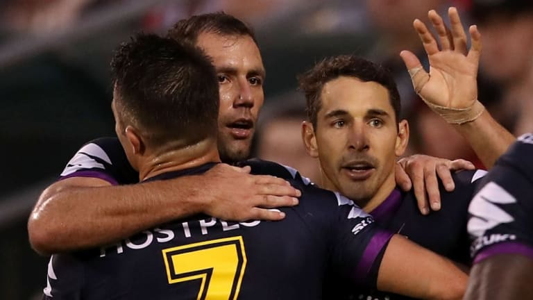 No longer close: Cooper Cronk, Cameron Smith and Billy Slater in Storm colours.