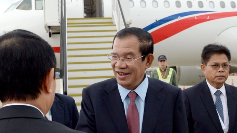 Cambodia's Prime Minister Hun Sen at Sydney Airport for the ASEAN-Australia Special Summit in March.