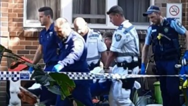 Police at the scene of the stabbing in Balmain East last Thursday.