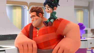 Ralph (voiced by John C. Reilly) and Vanellope von Schweetz, (Sarah Silverman) in Ralph Breaks the Internet.