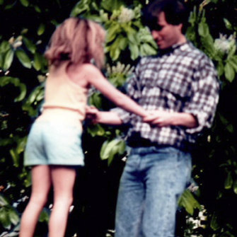 Steve, who could be fun as well as cruel, with Lisa in the early 1980s.