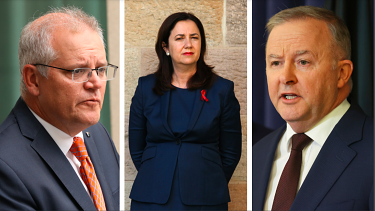 Prime Minister Scott Morrison, Queensland Premier Annastacia Palaszczuk and federal Labor leader Anthony Albanese.