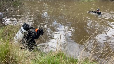 Police searching Jacksons Creek at Diggers Rest for the body of Adelaide man Kerry Giakoumis.