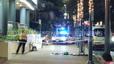 The scene on Hanlan Street in Surfers Paradise where paramedics tried to save the man's life.
