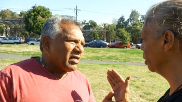 Mick Mundine and Jenny Munro at the 2014 opening of the tent embassy in Redfern