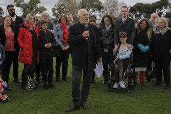 Phil Cleary paying tribute to his slain sister Vicki in Coburg in 2018.