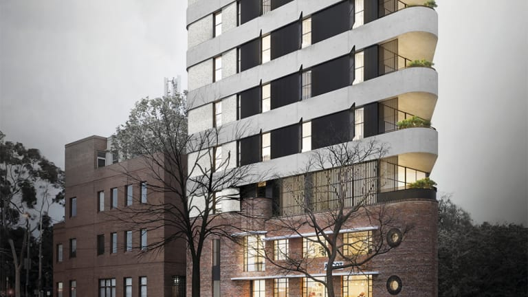 Artist's impression of the proposed eight storey development at 1071-1081 Hoddle Street, East Melbourne.